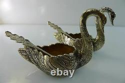 Solid Silver Pair Of Rare Antique Salt & Pepper Cellars Swan Shaped
