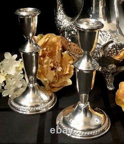 Sterling Candle Holders Empire #620 Vintage pair of candlesticks
