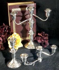 Sterling Silver 3 Arm Candelabras Candle Holders Vintage Pair