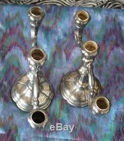 Sterling Silver Candelabra German 925 Old Vintage Antique 3 Candlestick Pair Set