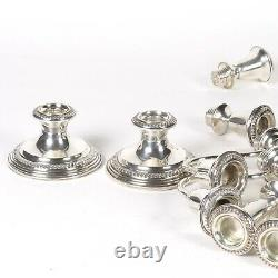 Sterling Silver Candelabra Vtg Empire Weighted Pair Convertible 3 Light