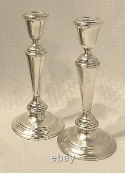 Sterling Silver Candlesticks Newport by Gorham #16218 Vintage 8.25 Pair