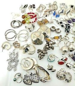 Sterling Silver Earring Lot (Approx 55 pair) 224 grams- Vintage & Estate-NR
