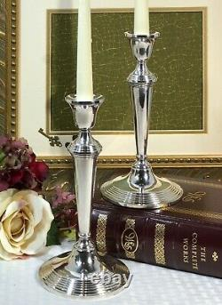 Sterling Silver Tall Candle Holders Tapers Unmarked PAIR 9 tall