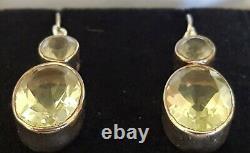 Sterling silver & citrine vintage Art Deco antique pair of dangly earrings