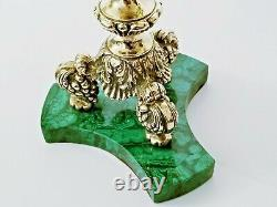 Stunning Vintage Pair Gilt Silver Malachite Five Lights Candelabra RARE