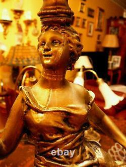 Superb, Very Rare, Pair Vintage Art Nouveau Spelter Table Lamps w Dancing Ladies