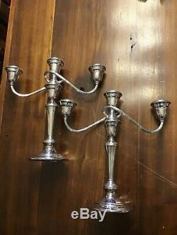 Tall 3 Lite Pair Of Vintage Gorham Candelabras YC3032 Twisted Arm 3 Part
