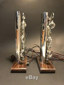 UNUSUAL Pair VINTAGE 1920s-30s High Style ART DECO Chrome & Crystal TABLE LAMPS