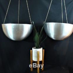 Unusual Pair Large Vintage Mid Century Modern Hanging Planters Brushed Aluminum