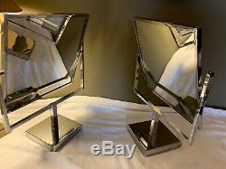 VINTAGE ANTIQUE VANITY DRESSING JEWELRY STORE DOUBLE SIDED DISPLAY MIRROR Pair
