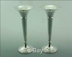 VINTAGE PAIR OF SOLID SILVER TRUMPET VASES 7.5 inch high