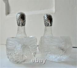 VINTAGE PAIR of NOVELTY 800 SILVER & GLASS DUCK SALTS / POTS / PEPPERETTES c1930
