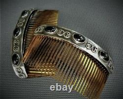 VINTAGE Pair of NAVAJO 925 Sterling Silver & BLACK ONYX Hair Combs Southwestern
