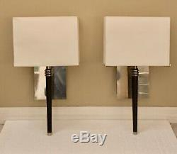 VTG CHARLES PARIS WALL Sconces LAMPS PAIR (2) NICKEL & EBONY MODERN RETAIL$4500