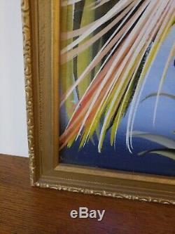 VTG Mid Century Tropical Birds Paintings Pair Silver Board Framed