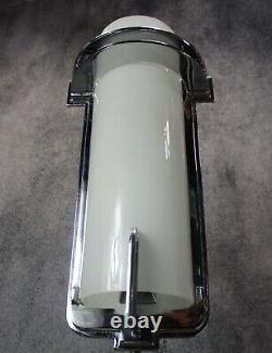 VTG PAIR of Tall Architectural Machine Age Deco Chrome Sconces c1930's RESTORED
