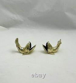 Very Rare Cartier Vintage Sterling Silver Gold Washed Pair Of Whale Salt Cellars