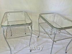 ViNtaGe 60'sWooDarD CHaNTiLLy Rose EnD TaBLeS SiDe TaBLeS NiTe StaNd PaiR+glass