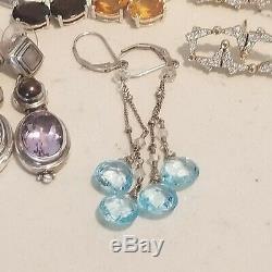 Vintage 12 Pairs Sterling Silver 925 Garnet Topaz Pearl Amethyst Earrings Lot