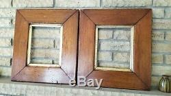 Vintage 1890s Pair Thick Wood Picture Frames Photo painting sampler Office