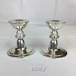 Vintage 1972 Reid & Sons Sterling Silver Pair Of Candlesticks Gothic Style 9cm H