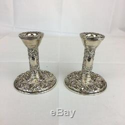 Vintage 1987 Broadway & Co Sterling Silver Filled Candlesticks Pair 10cm High