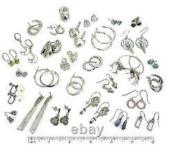 Vintage. 925 Sterling Silver Earrings Lot of 30 Pair 87 GR Not Scrap