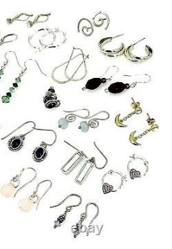 Vintage. 925 Sterling Silver Earrings Lot of 32 Pair 66 GR Not Scrap