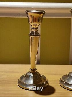 Vintage A T Cannon Hallmarked Birmingham Silver Candlesticks Pair 6