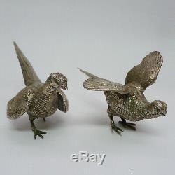 Vintage Antique 925 Sterling Silver Pheasants Pair German Marked
