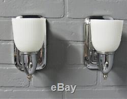 Vintage Antique Art Deco Slip Shade Wall Sconces Chrome Bathroom MCM Retro