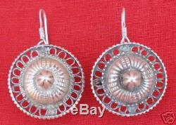 Vintage Antique Ethnic Tribal Old Silver Earring Earplug Pair Rajasthan India