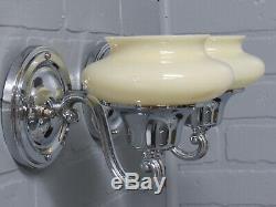 Vintage Antique Pair Art Deco Chrome Slip Shade Wall Sconces Custard Glass