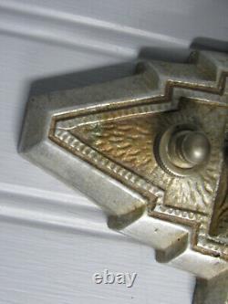 Vintage Antique Pair Art Deco Wall Sconces Slip Shade Sconces No Shades