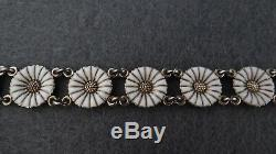 Vintage Anton Michelsen Daisy Gilded Sterling Silver 925s And White Enamel Brace