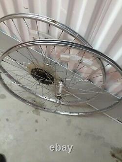 Vintage Araya 27 x 1-1/4 Chrome Wheelset Pair 5 speed road bike rims wheels