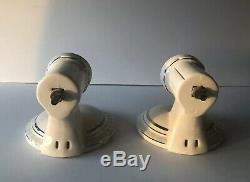 Vintage Art Deco Pair Of White Porcelain Wall Sconce Light Fixtures Silver Trim