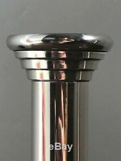 Vintage Art Deco White Metal / Polished Steel Pair of Candlesticks c. 1930