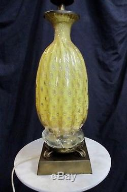 Vintage Barovier & Toso Pair Glass Lamps Yellow And Silver Foil Adventurine 50's