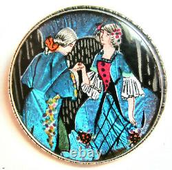Vintage Butterfly Wing Pin Sterling Silver England Dancing Couple Turquoise