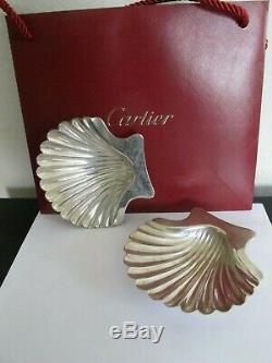 Vintage Cartier Pair Of Sterling Silver Shell Caviar Dishes