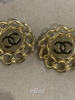 Vintage Chanel CC Paris GOLD Tone Black Clip On Earrings Pair 1 1/2 Diameter