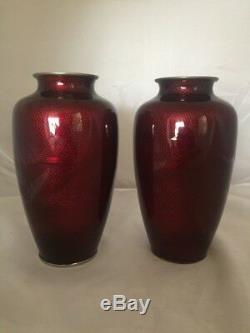 Vintage Chinese Red Ox Blood Foil Ginbari Silver Cloisonne Vase Pair