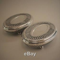 Vintage Christofle France Silver Plated Perles Pair of Hot Plates