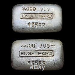 Vintage Consecutive Pair of 3oz Engelhard 999 Silver Ingot Bars Rare Variety
