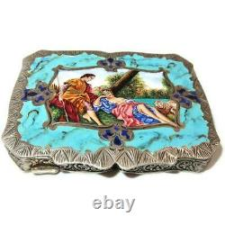 Vintage Continental 800 Silver & Enamel Compact, Italy, Courting Couple, 79 g
