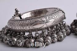 Vintage Egyptian Sudan Ethnic Bedouin Silver Nubian Anklet Cuff PAIR/ 610 gram