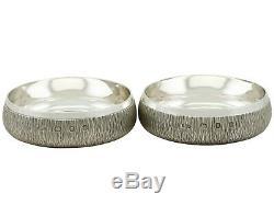Vintage Elizabeth II Pair of Sterling Silver Coasters
