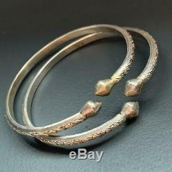 Vintage Ethnic Tribal Solid Silver Acorn Heads Bangle Pair Arm Band